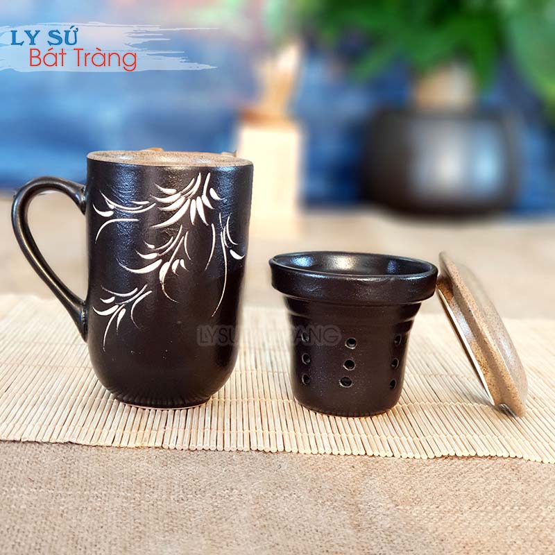 Ly sứ uống trà có bộ lọc